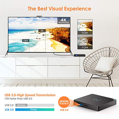 Bqeel Android 8.1 TV Box Y5 Smart TV Box mit【4GB+64G】 Android TV Box 8.1 mit S905X2 Quad-core ARM Cortex-A53 unterstützt 4K / WiFi (2.4G+ 5.8G) / LAN 1000M/H.265/Bluetooth 4.0/ Android Box