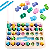 36 Pack Wooden Magnetic Fishing Game, Montessori Letters Cognition Educational Toy ABC Alphabet Color Sorting Puzzle with 2 Fishing Pole, Preschool Gift for 3 4 5 Years Old Toddler Kid Early Learning