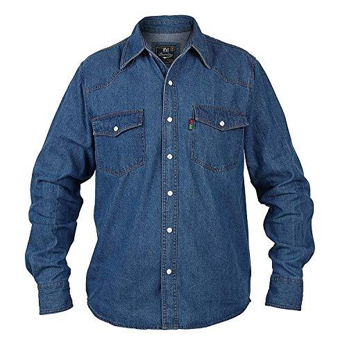 Duke London Homme Jeans Chemise King Taille Délavé Haut Manches Longues - Pierre Délavé, 6XL