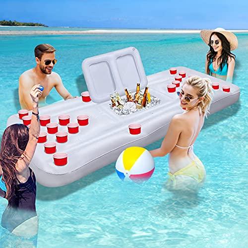 Bilisder Beer Pong Luftmatratze Aufblasbar Bierpong Luftmatratze Mit 28 Tassenlöchern, Aus Hochdichtem PVC für Schwimmbäder Strände Camping (Weiß)
