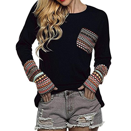 OVERDOSE Mokingtop Damen Floral Splice Printing Rundhals Pullover Bluse Tops T-Shirt (M, C-A-Black)