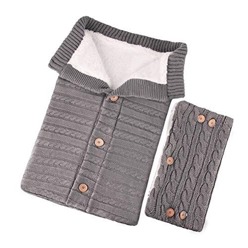 LeeBoom Bebé recién Nacido Swaddle Blanket Knit Soft Warm Fleece Blanket Botones Saco de Dormir con Guantes de Cochecito