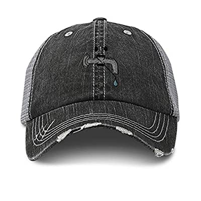 Custom Distressed Trucker Hat Plumber Leaky Faucet Embroidery Cotton for Men & Women Strap Closure Black Gray Design Only