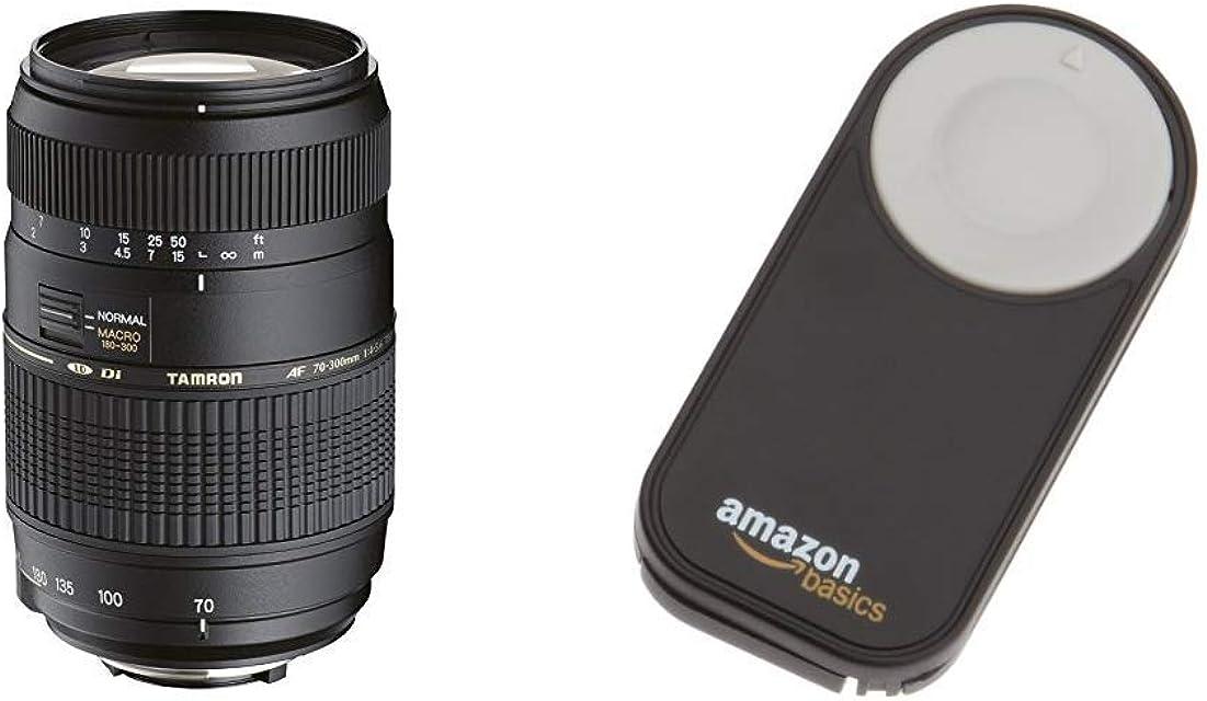 Tamron A17NII - Objetivo para Nikon (70-300mm f/4-5.6 Macro AF 62 mm) Color Negro + AmazonBasics - Disparador inalámbrico para cámara réflex Digital (5 Metros) Negro