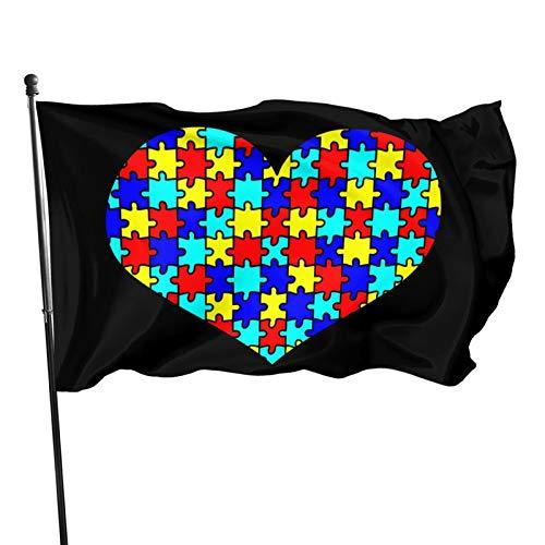 SKES Autism Awareness Heart Puzzle Flag Outdoor Flag Home Garden Flag Banner Breeze Flag American Flag Decorative Flag 3x5 Ft