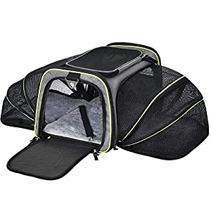 AIIYME Cat Carrier Large Pet Carrier, Expandable Foldable Soft Sided Dog Travel Carrier Bag with Removable Fleece Pad and Pockets