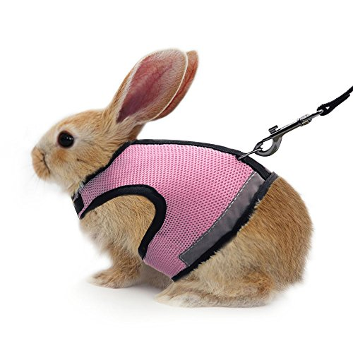 ATAILOVE Rabbit Harness and Leash Soft Breathable Mesh Small Animall Harness for Bunny, Rabbit,...