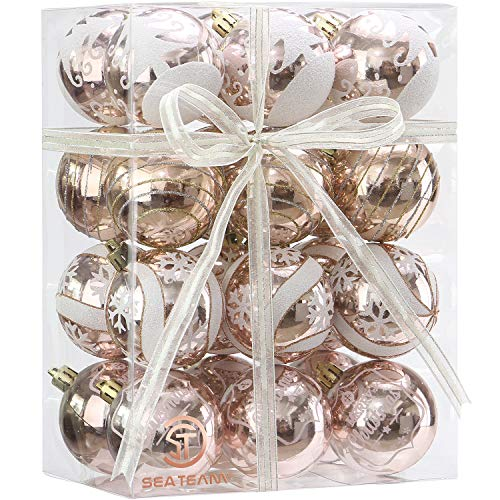 Sea Team 60mm/2.36 Delicate Painting & Glittering Shatterproof Christmas Ball Ornaments Decorative Hanging Christmas Ornaments Baubles Set for Xmas Tree - 24 Counts (Rose Gold)