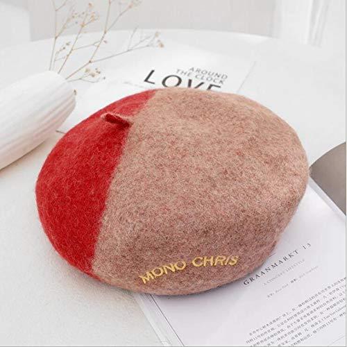 LXQ 2 Stück der neuen Frauen Klassische Französisch Artist Color Matching Farbe Wolle-Barett-Hut Beanie Cap,Rot