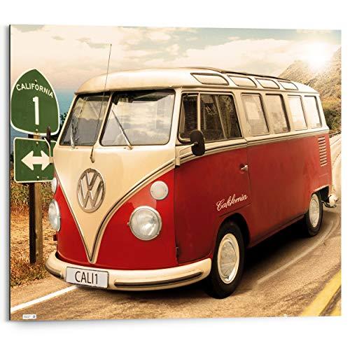 Schilderij Deco Panel Volkswagen camper Retro - Vintage - Bulli VW - 50 x 40 cm