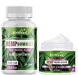 BinWeed Pain Relief Bundle, Hemp Gummies 2500 MG and Hemp Relief Cream 20,000 MG, Made in USA