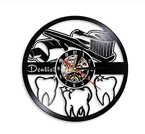 hutianyu tandenborstel en tandpasta orale hygiëne moderne badkamer teken muur klok tandarts Vinyl Record muur klok tandarts tandarts 30X30Cm