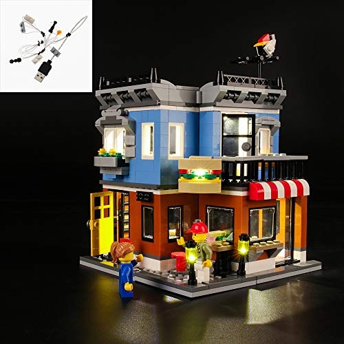 QJXF USB Light Set Compatible with Lego Creator Corner Deli 31050, LED Light Kit for (Corner Deli) Building Blocks Model (Not Included Model)