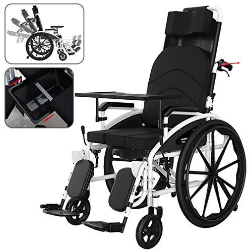 QIANC Reiserollstuhl mit Toilette,Rollstuhl Faltbar für Ältere und Behinderte Menschen,Fünfgang-Rückenlehnenverstellung,Faltbar/Super Leicht/Tragbar