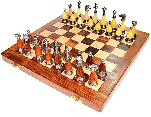 Metal India 14' x 14' juego de tablero de ajedrez plegable de madera juego de latón Staunton piezas