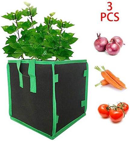 3Pcs 710 Gallon Garden Plant Grow Bag Vierkant Vilt Planten Zak Draagbare En Mooi Geschikt Voor Aardappel Tomaat Wortel Teelt10 Gallon