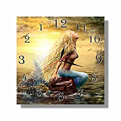 dudkaair Mermaid 11.4'' Handmade Wall Clock - Get Unique décor for Home or Office – Best Gift Ideas for Kids, Friends, Parents and Your Soul Mates