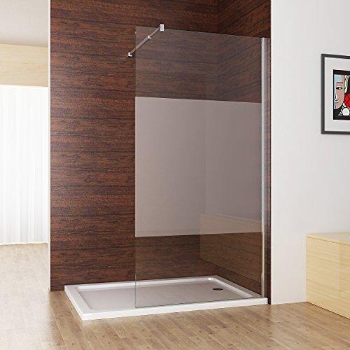 Duschabtrennung walk in Duschwand Seitenwand Dusche 10mm NANO teilsatiniert Glas Duschtrennwand 90 x 200 cm