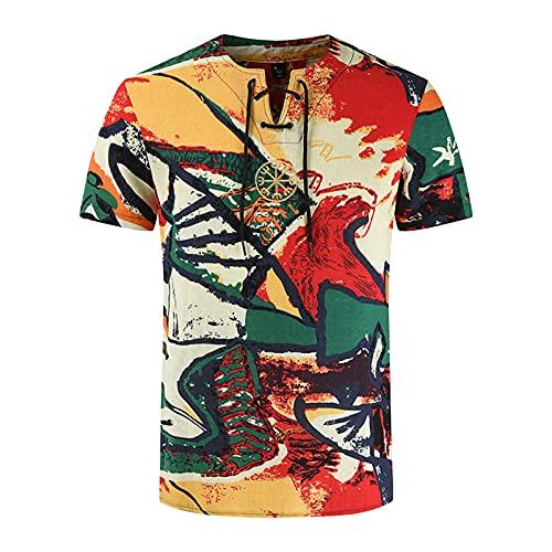 Camiseta de manga corta para hombre, de verano, informal, con estampado étnico, de algodón y lino impreso, de corte ajustado. C_multicolor. XXXL