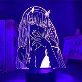 Darling in Franxx Lámpara de ilusión óptica 3D, figura de anime, luz nocturna para niños, 7 colores cambiantes, luz de noche LED acrílica para niños y niñas como regalo de cumpleaños o vacaciones