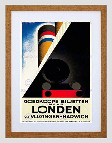 Wee Blue Coo Travel Vlissingen Harwich lijn scheepstrein Nederland Omlijst Muur Art Print