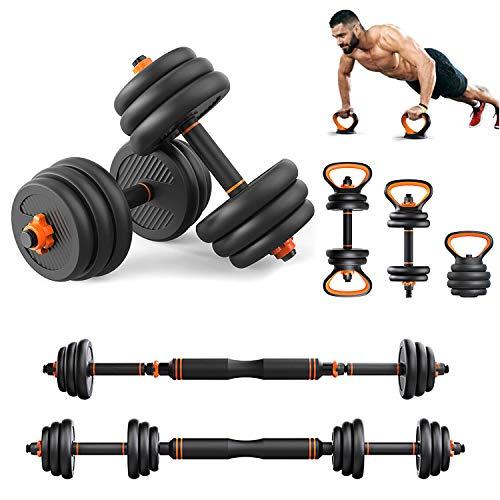 Fitness Hantel Barbell Kettle Push-Up Ständer Sets, 4 in 1 Einstellbare Hantel Start Body Gym Bodybuilding Workout Männer Und Frauen Fitnessgeräte (1 Paar),10KG(22 Lbs)