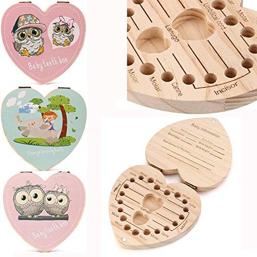 Aomili Holz Milchzähne Box Zahnbox Kinder Milchzahndose Storage Box für Deciduous teeth Englische Version Milchzahndose für Mädchen und Jungen Als Geburtstagsgeschenk (Dunkelpink)