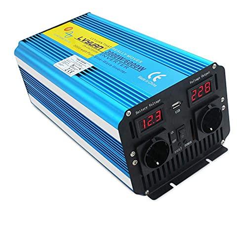 Yinleader inversor de Corriente Onda Pura 3000W Pico 6000W Transformador De 12v A 230v convertidor USB LED 2 Enchufe con Control Remoto inalámbrico para Coche Caravana cámping de Viaje