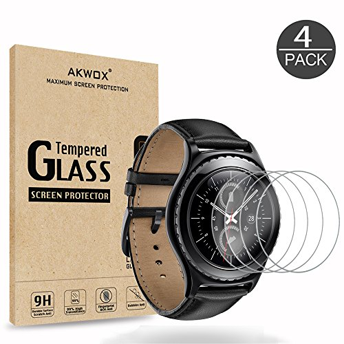 AKWOX (4-Pack) Tempered Glass Screen Protector for Gear S2 / Samsung Galaxy Watch (42 mm), [0.3mm 2.5D High Definition 9H] Clear Screen Protector for Samsung Gear S2 Frontier/Classic/Gear Sport