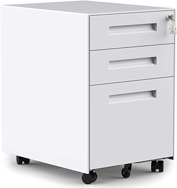 3 Drawers Mobile File Cabinet With Lock Under Desk White File Cabinet With Wheels Fully Assembled