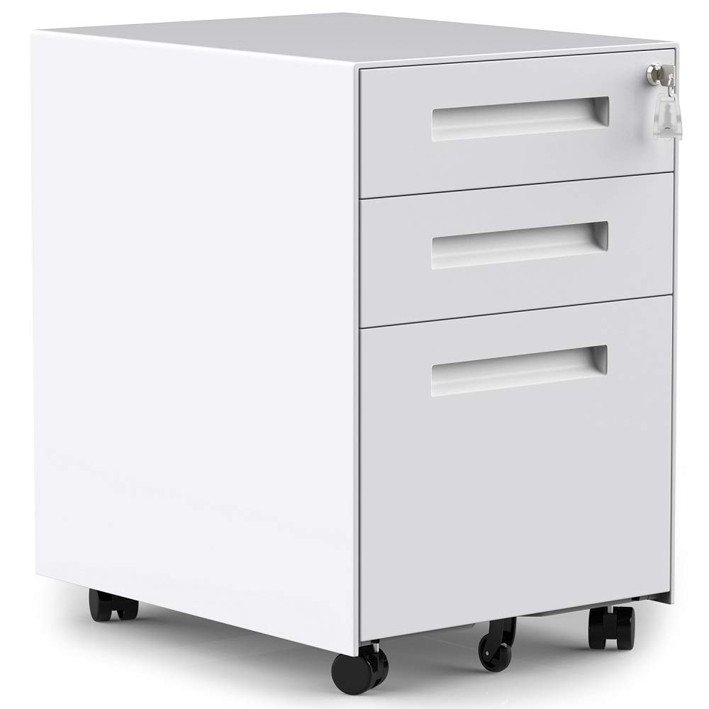 35 Drawers Mobile File Cabinet with Lock, Under Desk White File Cabinet with  Wheels, Fully Assembled