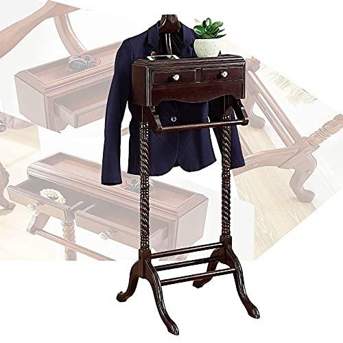 LOHOX Galán de Noche Mueble Percha de Traje Independiente, Base Sólida y Estable Diseño Almacenamiento con 2 Cajones para Hombre - 125 x 50 x 55 cm Marrón Claro/Marrón Oscuro