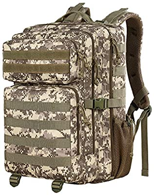 Tactical Backpack for Men, 42L Large Military Backpack Army Rucksack 3 Day Assault Pack Molle Bug Out Bag Daypack Survival Bag for Outdoor Travel, Hiking, Hunting, Camping