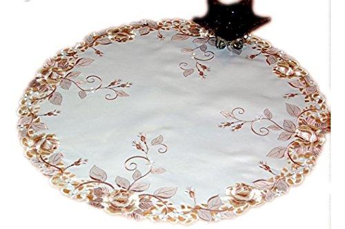 Laura S ® Tischdecke rund 85 cm Beige Liz Rose Braun gestickt Rosendecke Mitteldecke Deckchen Decke (85 cm rund)