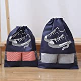 GEDENG Travel Shoe Bags, Shoe Organizer, Portable Transparent Household Storage Shoe Bags, Non-Woven Fabric Shoe Bags with Drawstring(D-M)