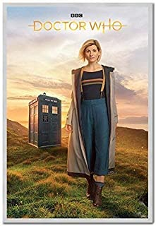 Doctor Who 13th Doctor Jodie Whittaker Poster Cork Pin Memo Board Silver Framed - 96.5 x 66 cms (Approx 38 x 26 inches)
