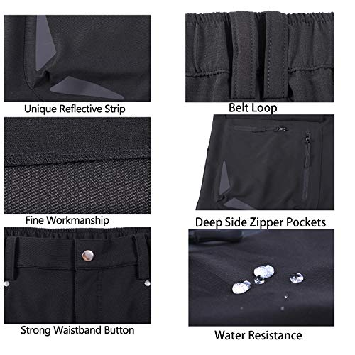 XKTTAC Men's Outdoor Quick Dry Lightweight Stretchy Shorts for Hiking, Camping, Travel with 6 Pockets (Black, M)