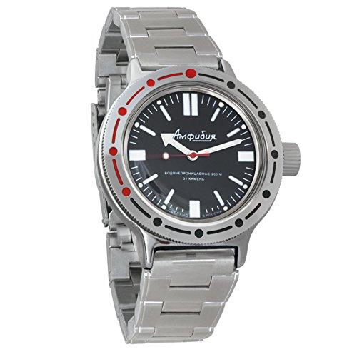 Vostok Amphibian automático Mens Reloj de pulsera Self-winding Militar buceo anfibios caso reloj de pulsera # 420916