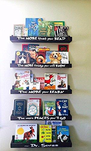 Dr Seuss Book Shelf Set, Floating Book Ledge, Dr Seuss Furniture, Children's Bookcases, Book Storage, Book Organization. Little Library, Nursery Decor, Book Shelves, Nursery Furniture, Wall Book Shelf