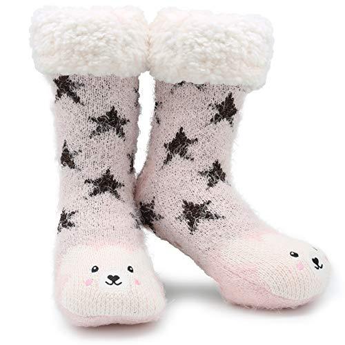CityComfort Slipper Socks 3D Novedad Cute Animal Knitted Extra Warm Slippers Súper Soft Winter Wool (oso lila)