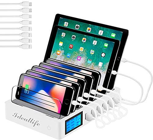 ideallife - Stazione di ricarica con commutatore USB multiplo, 7 porte, WiFi, caricatore da scrivania per iPhone / iPad / Samsung, 7 cavi inclusi, colore: Bianco