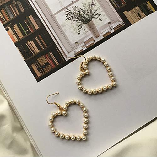 SSEHL Orecchini Orecchini a Forma di Cuore a Forma di Cuore Imitazione Perla per Le Donne Orecchini a Forma di Corallo Orecchini da Sposa
