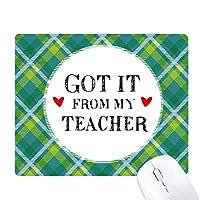 それは私の先生は、学生から引用しました 緑の格子のピクセルゴムのマウスパッド