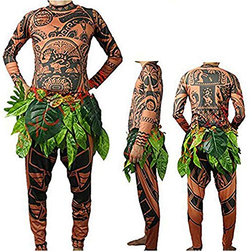 RUEWEY Halloween Adult Men Cosplay Costume Moana Maui Tattoo T Shirt Pants Set with Leaves Skirt (L, Brown)