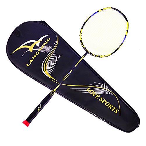 Badminton Racquet Light Racket Set Carbon Fiber 7u - 68g