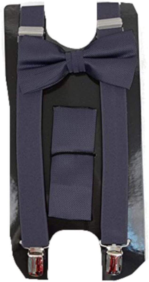 Men's Formal Solid 3 PC Clip-on Suspenders, Bow Tie and Pocket Square Set