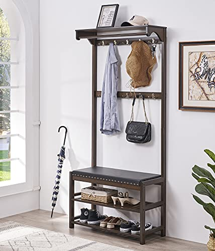 SeiriOne Coat Rack with Shoe Bench Furniture, Bamboo Hall Tree Storage Organizer for Entryway with Faux Leather Cushion, 4 In 1 Design, 10 Double Hanging Hooks, 31.5 Inch Wide