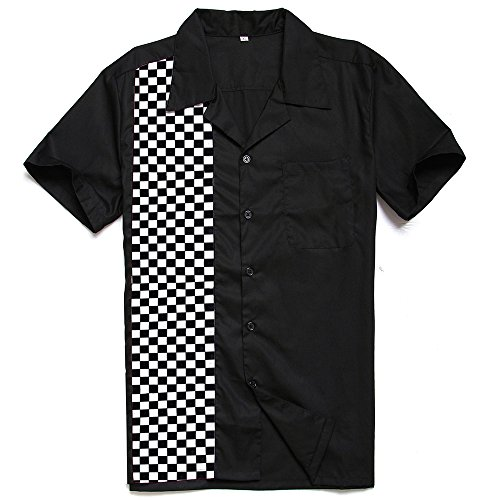 Anchor MSJ Herren 50er Jahre Männliche Kleidung Rockabilly Stil Baumwolle Herren Hemd Kurzarm Fifties Bowling Casual Button-Down-Shirts -  Schwarz -  XX-Large