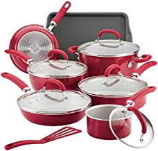 Rachael Ray Create Delicious Nonstick Cookware Pots and Pans Set, 13 Piece, Red Shimmer