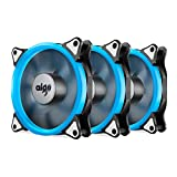 Aigo Halo Ring LED Case Fan 140mm 14cm Quiet Edition Sleeve Bearing High Airflow Silent Cooling Fan for Computer Cases, CPU Coolers, and Radiators (140mm, Triple Pack Ice Blue)